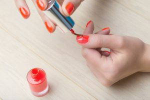 Manicure process at home, nails painting